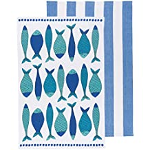 Now Designs Teatowels, Set of Two, Fish Market