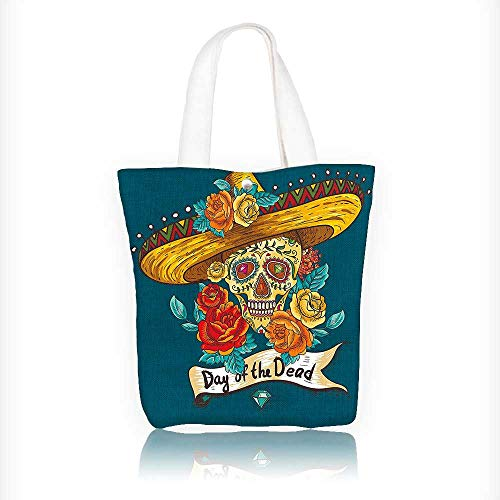 Canvas Shoulder Hand Bag Mexican Festive Hat Skull with Roses Print Petrol Blue Orange Marig Tote Bag for Women Large Work tote Bag Shoulder Travel Totes Beach Bag W11xH11xD3 INCH -