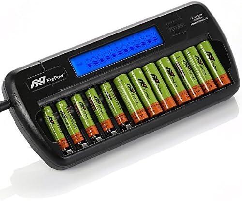 FlePow 8 Bay// Slot aa AAA NI-MH Ni-Cd caricabatterie rapido LCD caricabatteria intelligente per batterie ricaricabili batterie non incluse