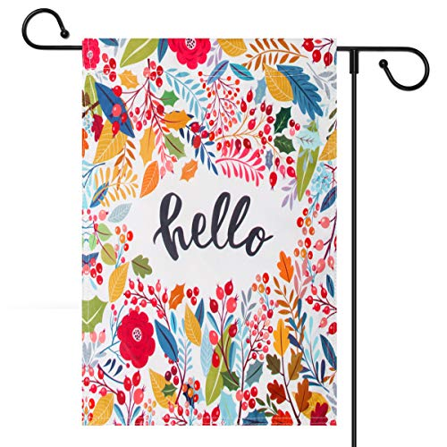 Welcome Decorative Flag - Coolrunner Hello Floral Leaf Garden Flag, Vertical Double Sided 12 x 18 Inch Decorative Flag for Easter Spring Summer Fall Garden Welcome Yard Outdoor Decor (Only Garden Flag)