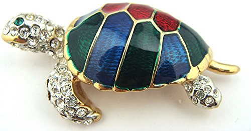 Cute Red Blue Green Enamel Austrian Crystal Turtle Tortoise Brooch Pin Gift -