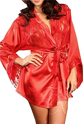 [1AhS50x54A Fashion Women Lace Stain Sleepwear Babydoll Underwear Dress G-string (US 6-8, Red)] (Alien Dress Up Ideas For Kids)
