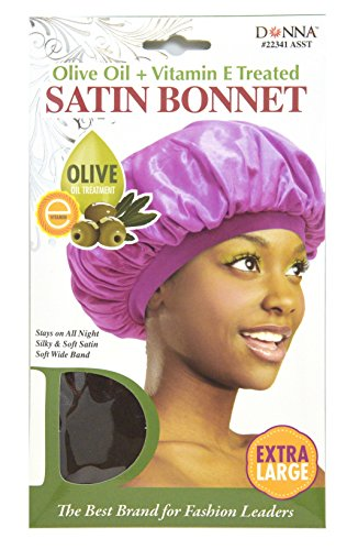 Price comparison product image Donna Collection Olive Oil Treatment Vitamin E Treated Satin Bonnet Extra Large Black