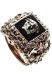 Versace Men's Goldtone Square Barocco Ring Black
