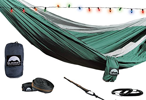 Summit Goods Best Premium Camping Hammock FREE STRAPS INCLUDED - Parachute Nylon Ultralight Fabric - XL Double & Single Person - Hiking Tent Beach Chair Travel Better Than Bear Butt ENO w/ Accessories