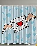 Lyrical Letters Vintage Envelope Heart Shaped Clouds Powder Home Decor Bath Textile Sweet Dreaming Romantic Girl Decorating Art Accent Digital Shower Curtain Blue Aqua Red White Tan