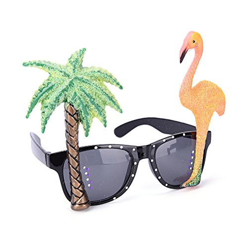 JUNKE Funny Hawaiian Tropical Sunglasses Glasses, Flamingos, Coconut Tree Design For Beach, Luau, Beer Festival, - Sunglasses Vivid