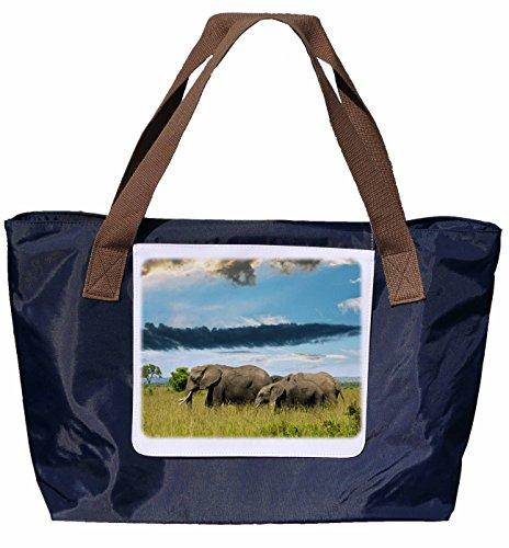 Shopper /Schultertasche / Einkaufstasche / Tragetasche / Umhängetasche aus Nylon in Navyblau - Größe 43x33cm - Motiv: Elefant /Elefanten in freier Wildbahn - 01