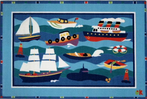 Kids Olive Boats - Fun Rugs Olive Kids Boats And Bouys Home Decorative Accent Area Rug 39