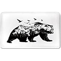 Memory Foam Bath Mat,Bear,Mammal Silhouette with Mountain Landscape Flying Birds and Forest Wildlife Design DecorativePlush Wanderlust Bathroom Decor Mat Rug Carpet with Anti-Slip Backing,Black White