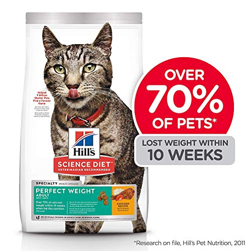 Hill's Science Diet Dry Cat Food, Adult, Perfect Weight for Healthy Weight & Weight Management, Chicken Recipe, 3 lb Bag (Pack Food Calories)