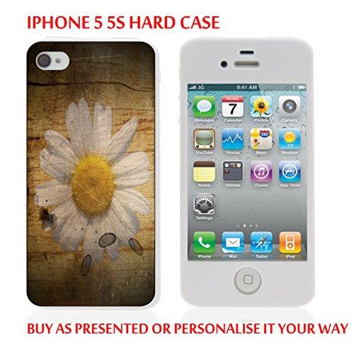 Gc76_iph55s iPhone 5/5S Coque étui personnalisée blanc fleur votre texte personnalisé produits fabriqués et vendus Par ThatVinylPlace
