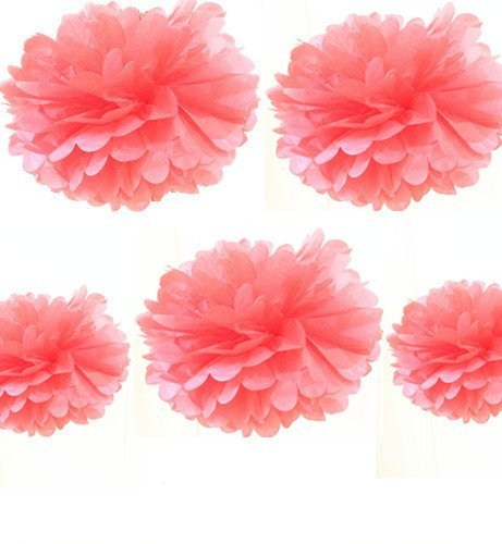 Fonder Mols Pack of 5 10 and 14 CORAL Party Tissue Paper Pom Poms Flower Ball Wedding Bridal Shower Party Decoration