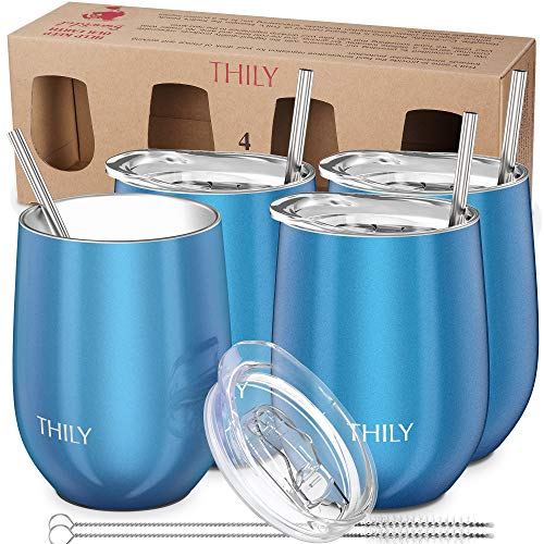 Stainless Steel Stemless Wine Glasses - THILY Triple Vacuum Insulated Cute Tumbler Travel Cup with Lid, Straw, Birthday Bride Xmas Gift, Keep Hot or Cold for Beer, Coffee, 4 Pack, Sparkle Blue (Glass Wine Xmas)