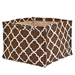 Medallion Brown square storage bin heavy canvas handle