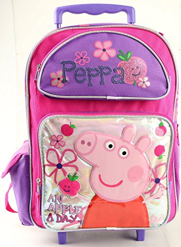 Peppa Pig 16'' inches Large Rolling Backpack for Girls- BRAND NEW - Licensed by AI