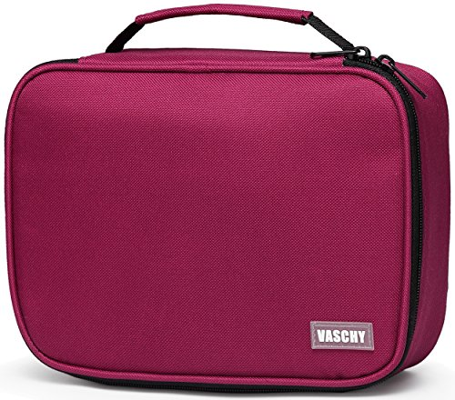 (Large Pencil Case,VASCHY Art Color Pencils Pouch with 3 Detachable Layers Multiple Zip Pockets for School Office Stationary Organization Burgundy)
