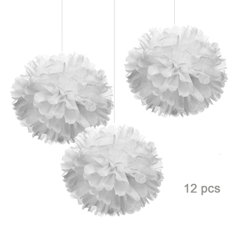 Hmxpls 10pcs Silver Tissue Hanging Paper Pom-poms Flower Ball Wedding Party Outdoor Decoration Premium Tissue Paper Pom Pom Flowers Craft Kit