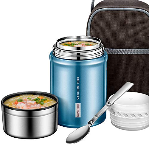 - IAMGlobal Insulated Food Jar, Food Thermos, Meal Soup Container with Collapsible Spoon, Lunch Box, Double Wall Vacuum Lunch Containers, Stainless Steel Food Flask(27 oz) (Blue)
