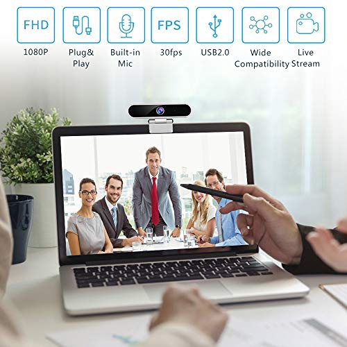Webcam with Microphone,Camera for Computer Desktop 1080P HD Webcam,Plug and Play USB Webcam for Laptop Flexible Rotatable Clip and Tripod,Privacy Cover for Video Calling Recording Conferencing