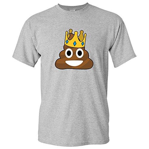 Poop Emoji Crown - Funny Novelty Humor T Shirt - X-Large - Sport Grey