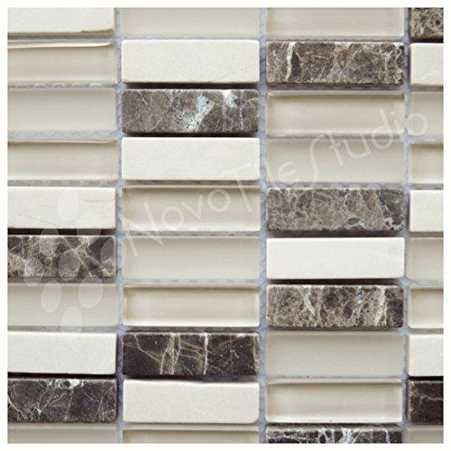 Box 10 Tiles Marble & Glass Mosaic Tile 12''x12'' FOGGIA-MX011 (10)