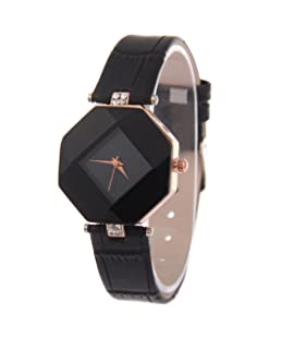 TONSEE Womens Ladies Fashion Rhinestone Wristwatch Quartz Watch (Black)