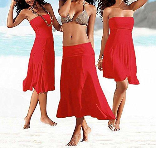 Vestido Para Mujer Casual Respirable Vestidos Largo Color Sólido Sin Mangas Vestido de Playa Faldas Rojo
