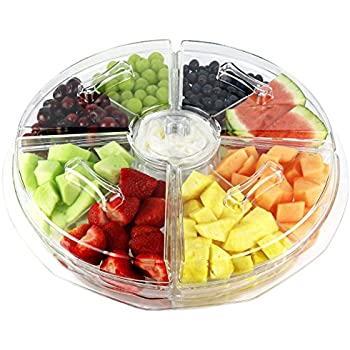 Lovely Estilo 8 Section Appetizer Platter On Ice With Lids, Clear
