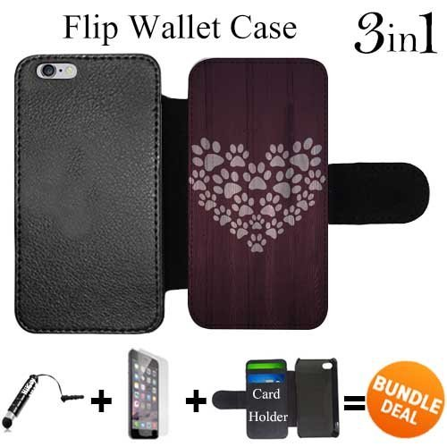 Prints Paw Wallet (Flip Wallet Case for iPhone 6 Plus/6S Plus (Paw Print Heart Design ) with 3 Card Holders | Shock Protection | Lightweight | Includes HD Tempered Glass and Stylus Pen by Innosub)
