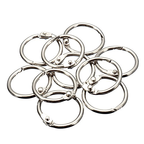 MyLifeUNIT Book Rings, Loose Leaf Binder Rings, 50 Pack, Silver (0.8 inch) ()