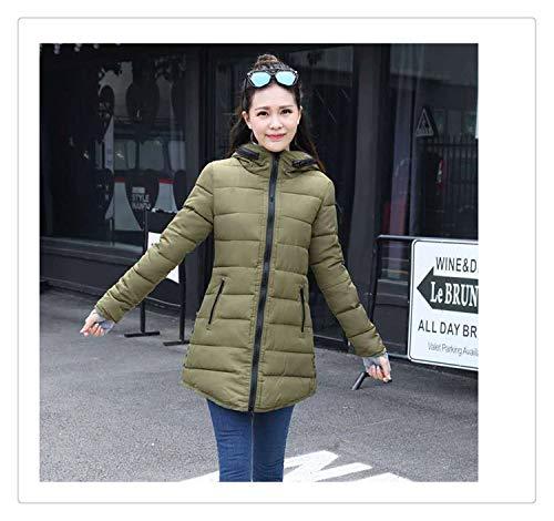 Queixiw 2018 Women Winter Hooded Warm Coat Slim Plus Size Candy Color Cotton Padded Basic Jacket Female Medium-Long Jaqueta Feminina Army Green L