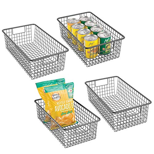 mDesign Modern Farmhouse Metal Wire Storage Organizer Bin Basket with Handles for Kitchen Cabinets, Pantry, Closets, Bedrooms, Bathrooms - 16.25 Long, 4 Pack - Graphite Gray