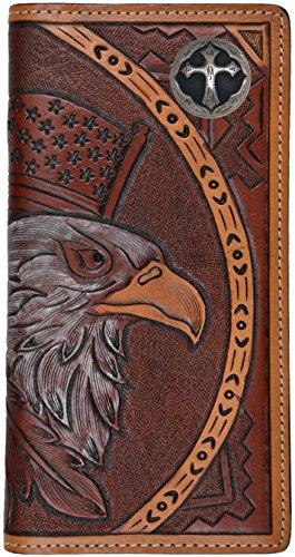 Custom American Spirit Ornate Cross hand-tooled leather wallet