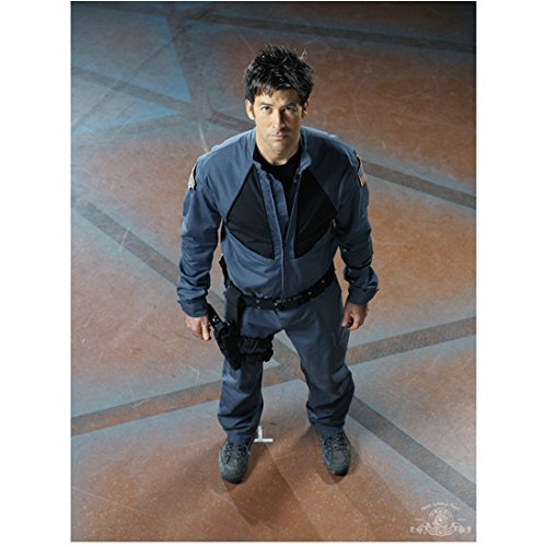 Joe Flanigan 8x10 Inch Photo Stargate Atlantis 6 Bullets The Other Sister Wearing All Grey Looking Up at Camera Pose 1 kn