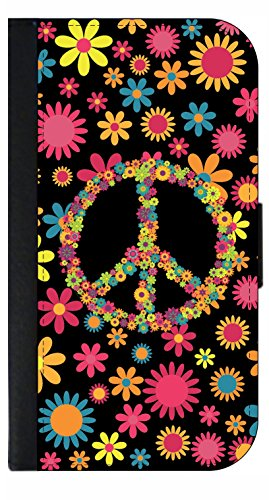 Floral Peace Design - Wallet Style Flip Phone Case Compatible with s3/s4/s5/s6/s6edge/s7/s7edge/s8/s8Plus - Select Your Compatible Phone Model