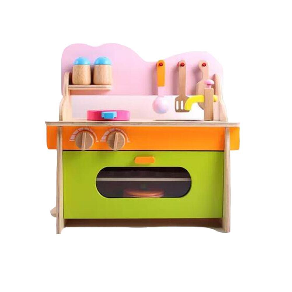 HJXJXJX Juguetes de cocina de simulación de madera para niños set , c paragraph