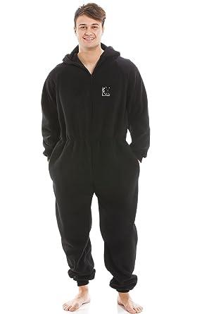 code promo 767cf c79c5 Camille Combinaison de Pyjama - Fermeture Éclair à l'avant/Capuche -  Polaire très Douce - Homme - Noir