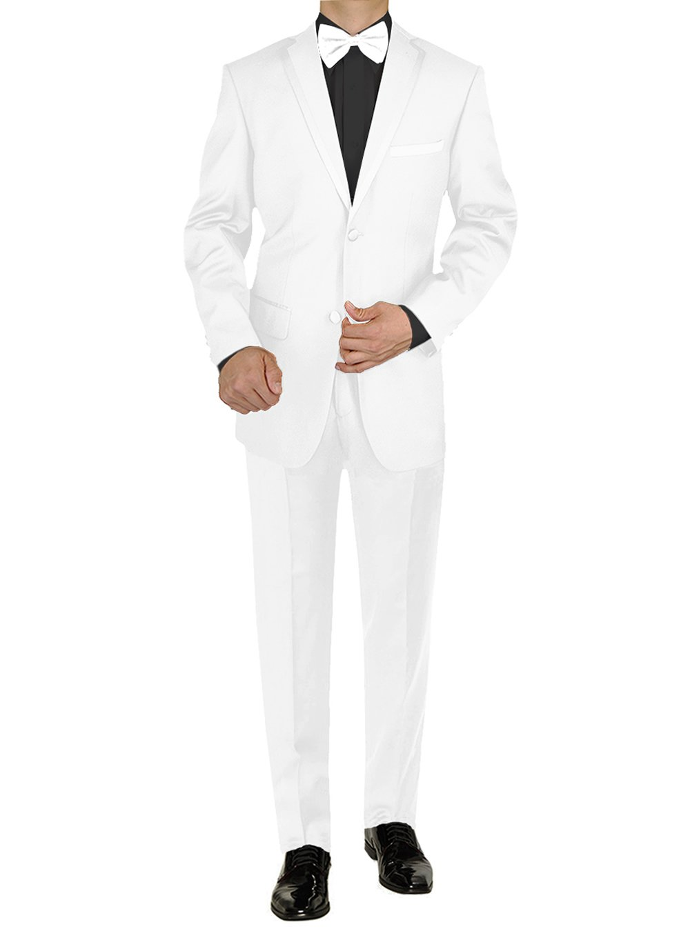 Giorgio Napoli Men's Tuxedo Suit Two Button Jacket Flat Front Adjustable Pants (46 Long US / 56 Long EU, White)