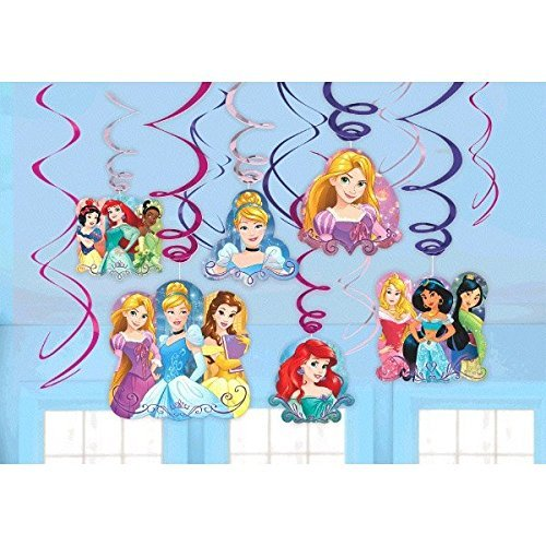 Birthday Princess Decorations (Disney Princess Dream Big Party Foil Hanging Swirl Decorations / Spiral Ornaments (12 PCS)- Party Supply, Party)