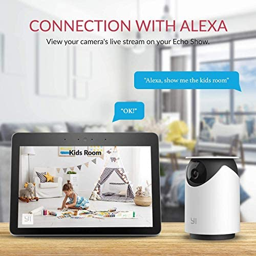 Indoor Wireless WiFi Security IP Camera, YI Smart Nanny Pet Dog Cat Dome Cam with Night Vision, 2-Way Audio, Motion & Face Detection, 360-degree, 1080p, Phone App, Works with Alexa and Google