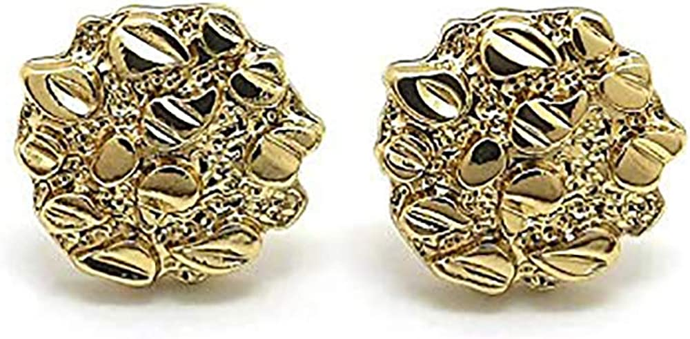 Textured Cookie Nugget Stud Earrings in Gold-Tone