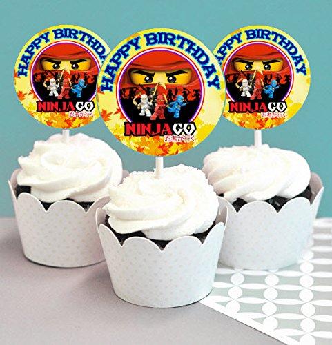 12 Happy Birthday Ninjago Inspired Party Picks, Cupcake Picks, Cupcake Toppers #1 (Ninjago Cake Decorations)