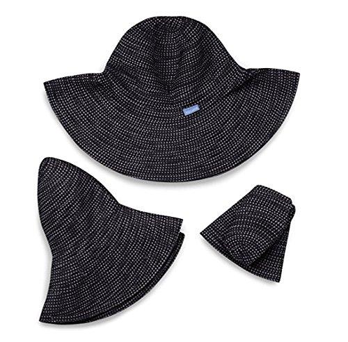 Wallaroo Hat Company Women's Scrunchie Sun Hat - Lightweight and Packable Sun Hat - UPF 50+ - Solid Black