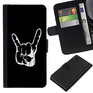 // PHONE CASE GIFT // Moda Estuche Funda de Cuero Billetera Tarjeta de crédito dinero bolsa Cubierta de proteccion Caso Sony Xperia Z2 D6502 / Awesome Rock Hand Sign /