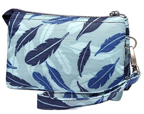 Crest Design Water Repellent Nylon Wristlet Clutch Wallet Cell Phone Pouch (Blue Feather) by Crest Design (Image #1)