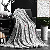 """Nalagoo Unique Custom Flannel Blankets White Stucco Design Of Native Thai Style On The Wall Super Soft Blanketry for Bed Couch, Throw Blanket 40"""" x 60"""""""