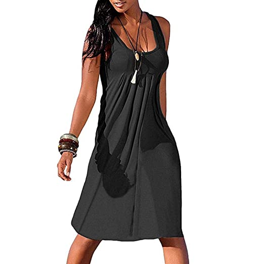 c03669e8027f1 CSSD Summer New Women Sexy Solid Sleeveless Plain Pleated Casual ...