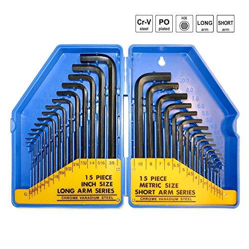 S&R Innensechskantschlüssel Satz HX, 30-tlg. 0,7- 10 mm, metrisch und 0,028 bis 3/8, Zoll, in Kunststoffbox