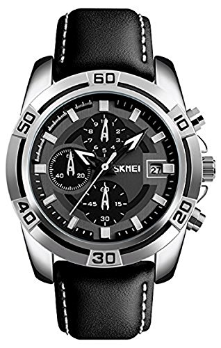 SKMEI Pilot Aviator Military Watch Chronograph Sports Mens Black Leather Waterproof Quartz Dress Bracelet Watch